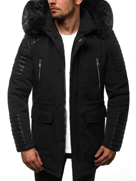 Senzačná čierna bunda typu parka O/99107