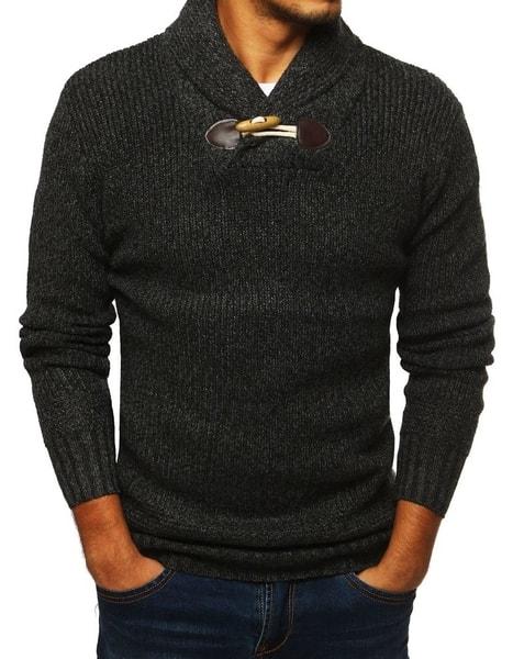 Tmavošedý moderný sveter