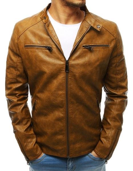 Pánska koženková bunda v zlatohnedej farbe