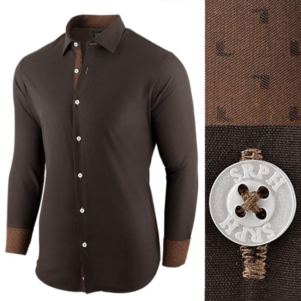 Štýlová hnedá pánska košeľa s kontrastnými manžetami