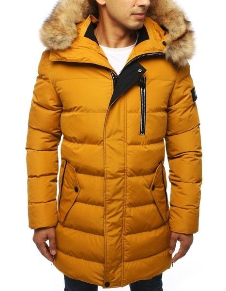 Zimná žltá prešívaná pánska bunda