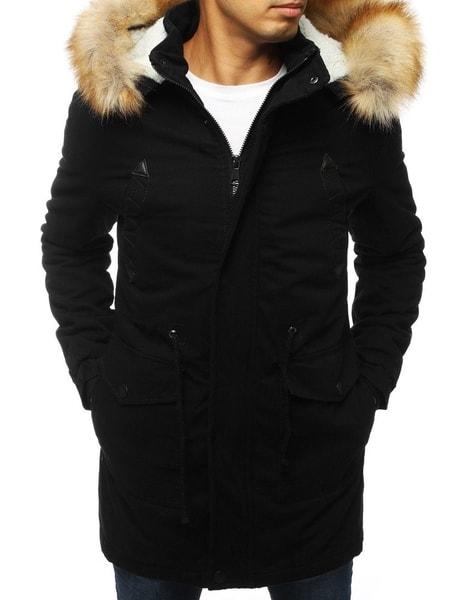 Zimná čierna bunda s kapucňou