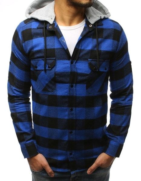 Modro-čierna kockovaná košeľa s kapucňou