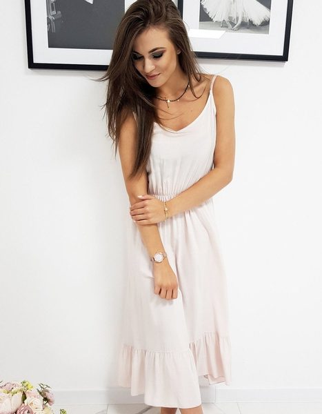Dámske ružové dlhé letné šaty