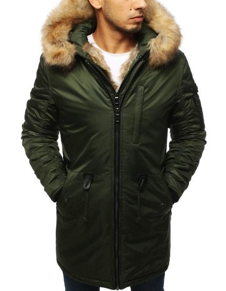 Moderná zelená zimná bunda