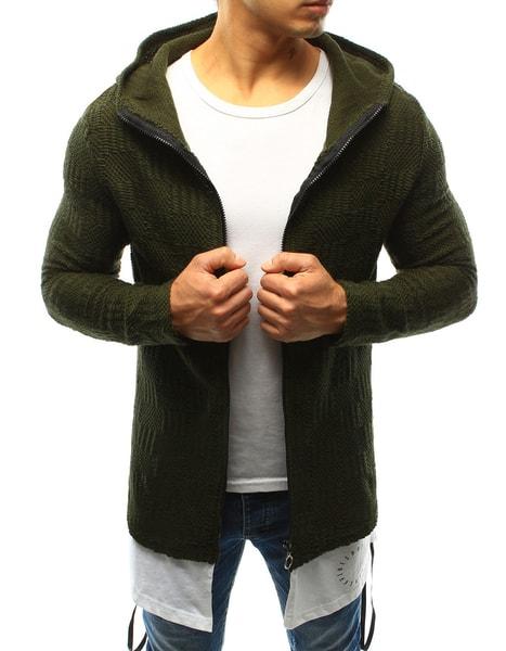 Módny zelený sveter s podšitím
