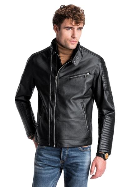 Perfektná čierna koženková bunda c413