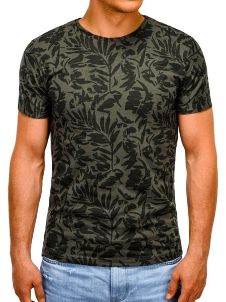 Bavlnené tričko s potlačou zelené s1170