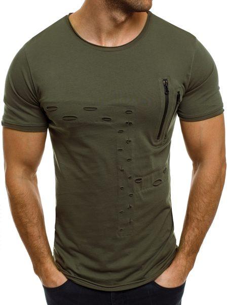BREEZY zelené tričko s dierami a zipsami 302