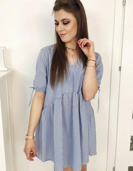 Dámske pruhované šaty bielo-modré