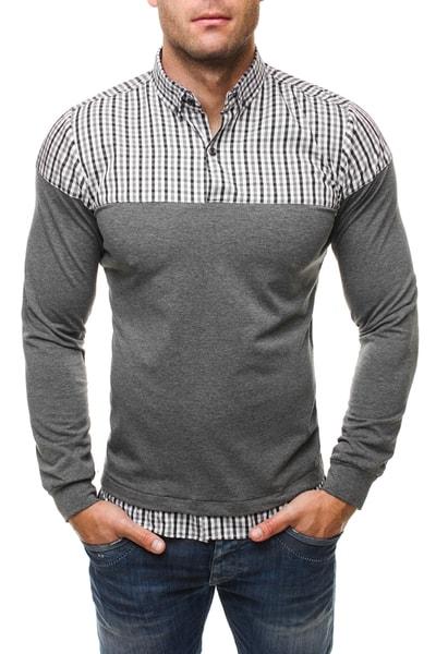 Sivá tričková košeľa RAW LUCCI 534