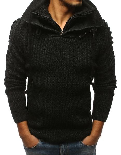 Trendový čierny vzorovaný sveter
