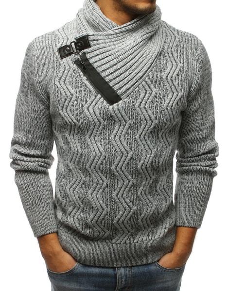 Vzorovaný sveter v šedej farbe