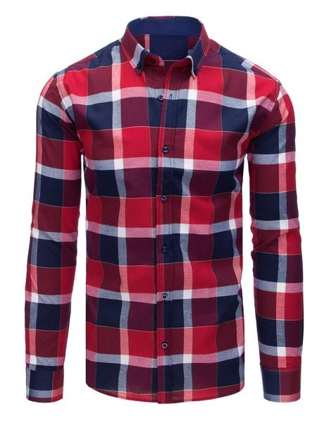 Červeno-granátová kockovaná košeľa