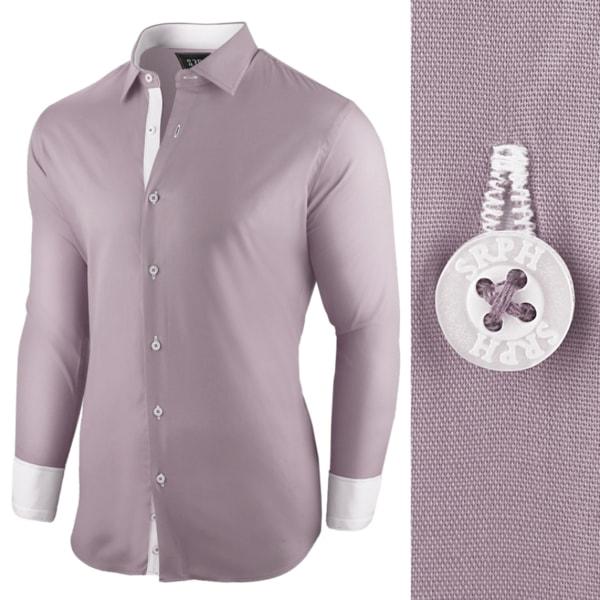 Zaujímavá šedá pánska košeľa s dlhým rukávom