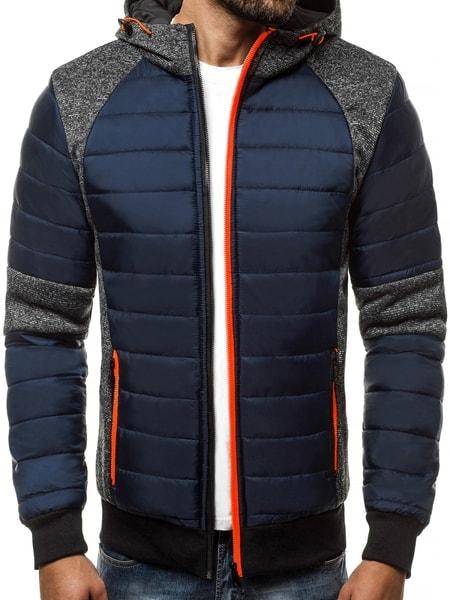 Granátová pánska zimná bunda s výraznými zipsmi JS/TY01