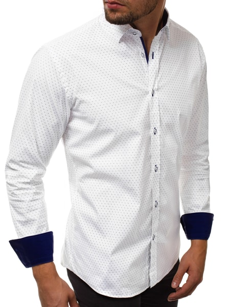 Trendy biela pánska košeľa V/K154