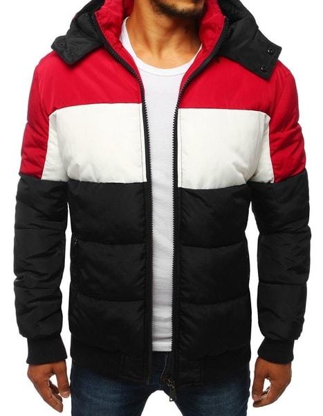 Moderná čierna prešívaná zimná bunda