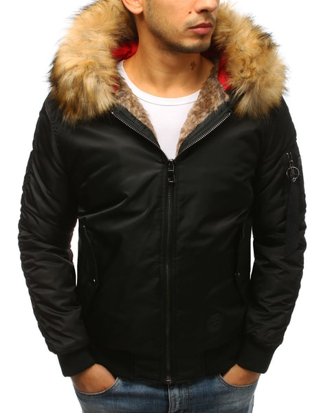 Moderná zimná bomber bunda čierna