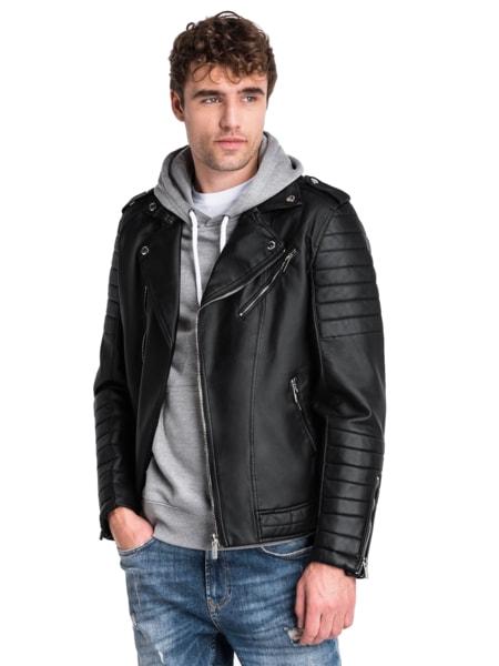 Trendy čierna koženková bunda c412