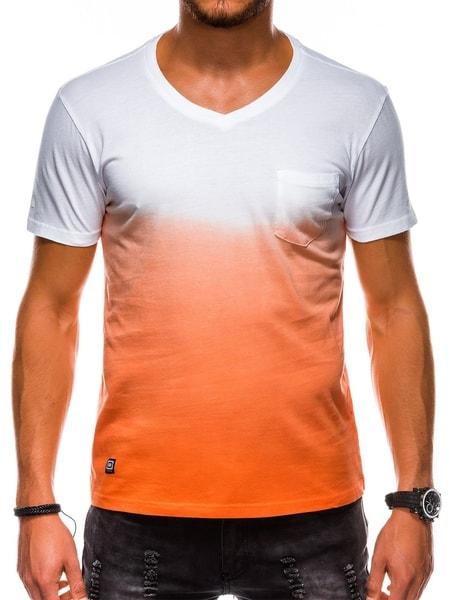 Moderné oranžové bavlnené tričko s1036