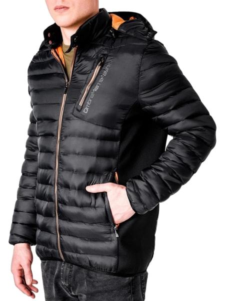 Módna prešívaná pánska bunda čierna c362