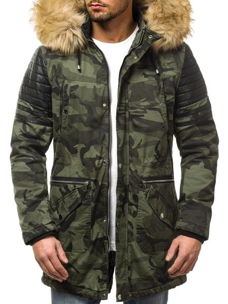 Zimná maskáčová pánska bunda zelená O/88832
