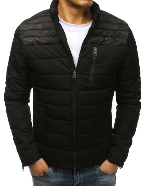 Prešívaná čierna zimná bunda v zaujímavom prevedení