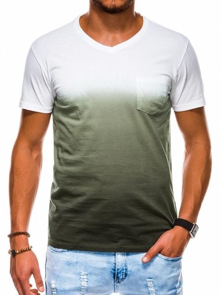 Perfektné olivové bavlnené tričko s1036
