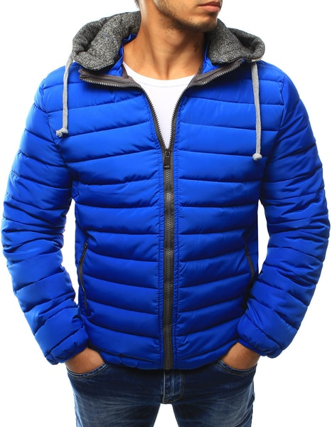 Prešívaná modrá bunda s kapucňou
