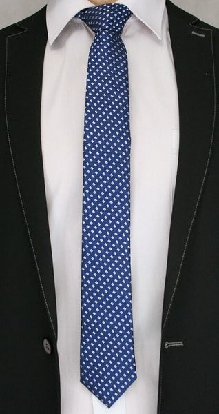 Zaujímavá modrá kravata s kockami