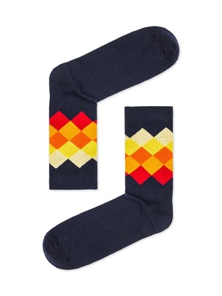 Modré ponožky s farebným vzorom