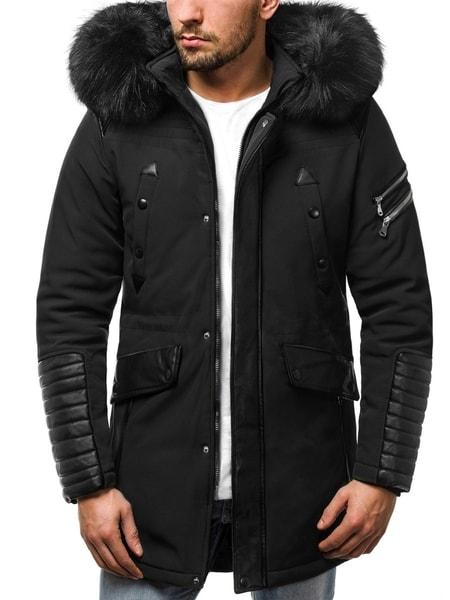 Štýlová čierna pánska zimná bunda O/99111