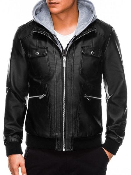 Pánska koženková bunda v čiernej farbe c415