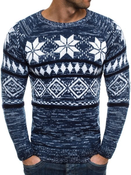 Pánsky granátový sveter so vzorom MADMEXT 1552