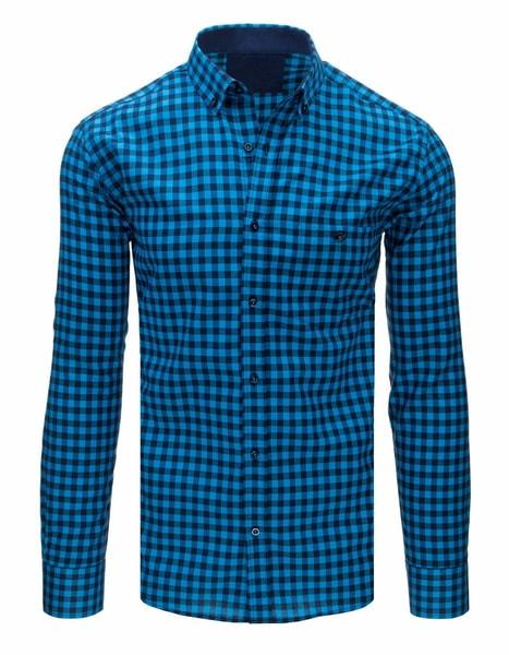 Kockovaná tyrkysovo-granátová košeľa