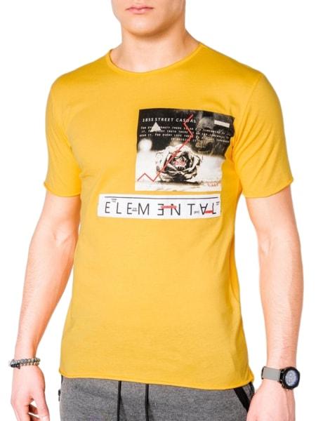Bavlnené žlté pánske tričko s985