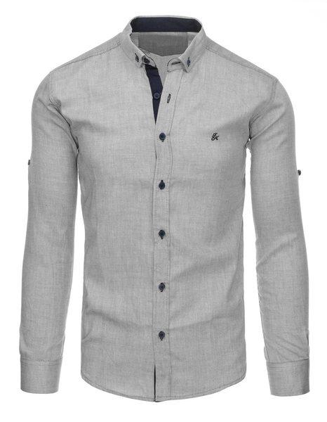 Šedá pánska košeľa v módnom dizajne