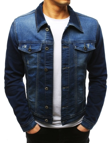 Bavlnená modrá rifľová bunda