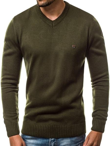 Jednoduchý pánsky sveter zelený O/KV01