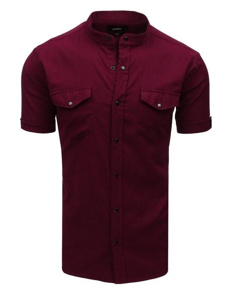 Moderná bordová košeľa s krátkym rukávom