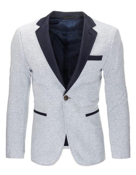 Pánske šedé sako v módnom prevedení