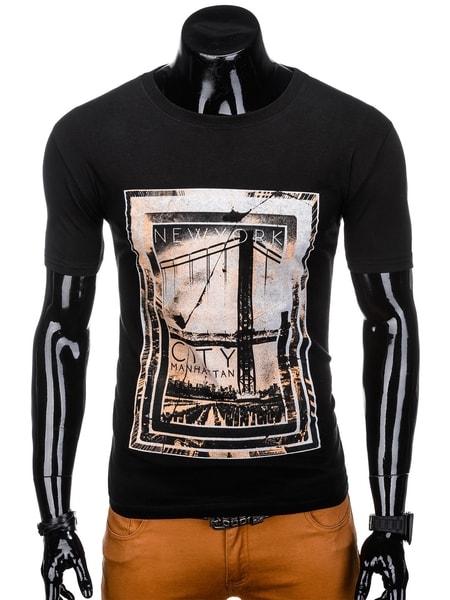 Čierne bavlnené tričko s potlačou s1140