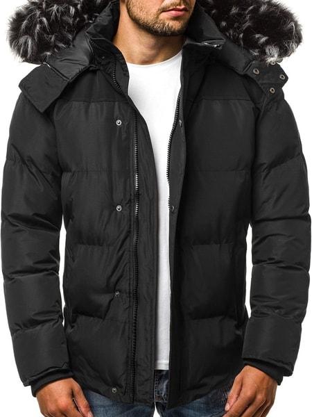 Pánska prešívaná zimná bunda čierna JS/HS201820