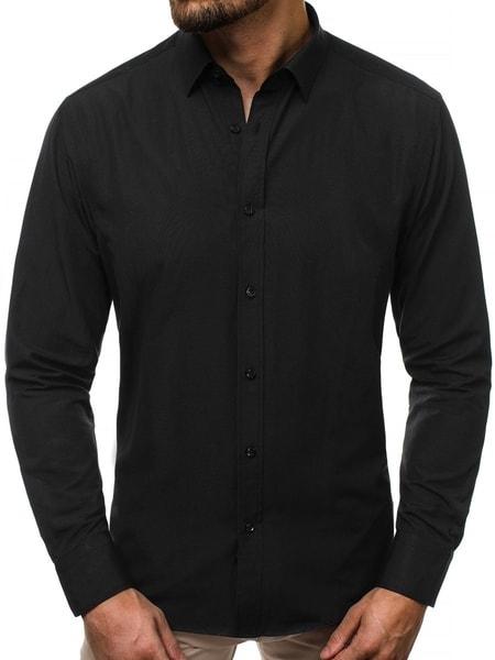 Elegantná čierna pánska košeľa V/K136