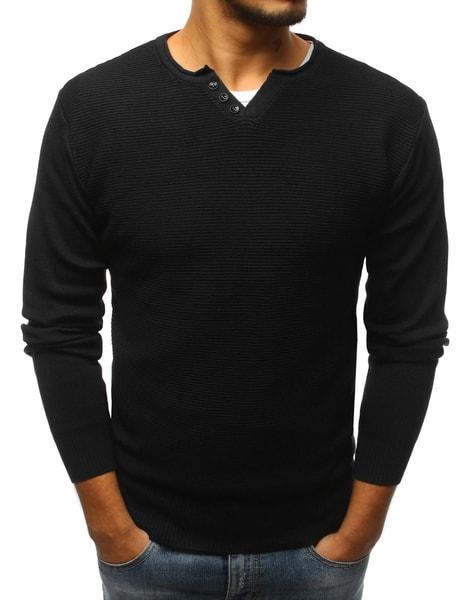 Čierny sveter s gombíkmi