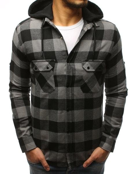 Šedo-čierna kockovaná košeľa s kapucňou