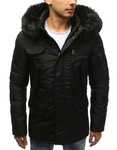 Čierna zimná bunda v štýlovom prevedení