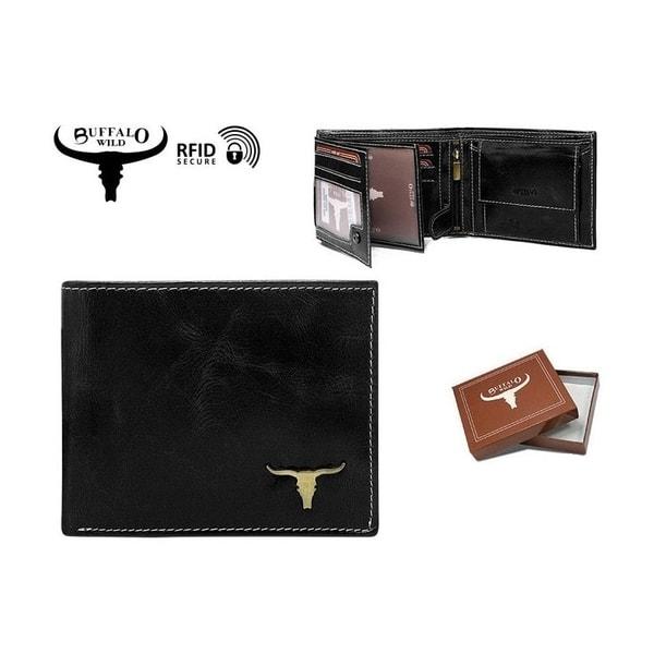 Jednoduchá kožená peňaženka s lebkou byvola