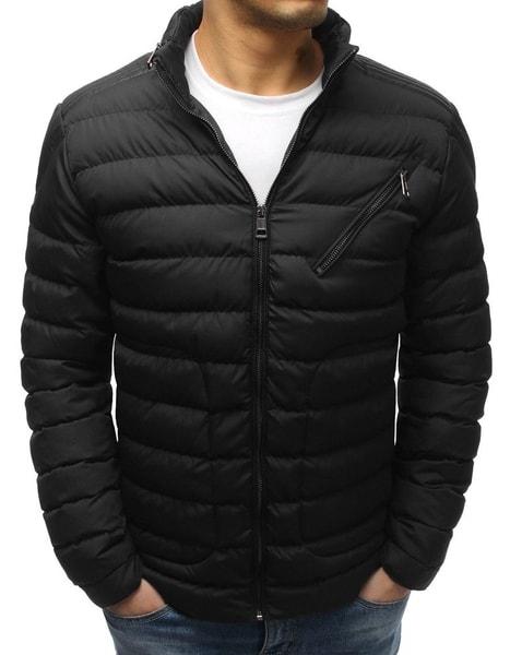 Módna čierna zimná bunda s ukrytou kapucňou